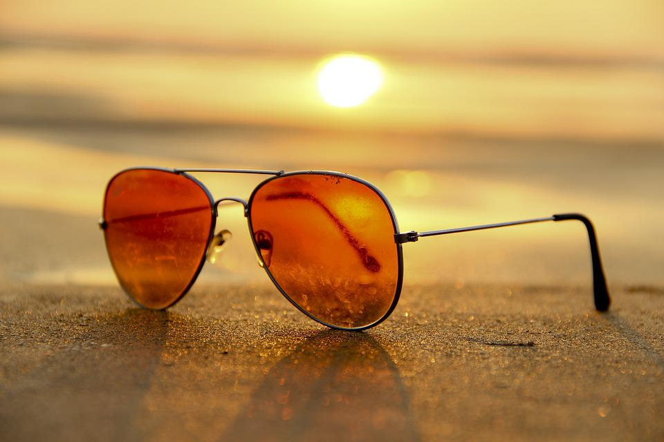 Sunset, Beach, Sunglasses, Sand, Summer, Brown Beach