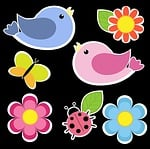 birds, butterfly, flowers