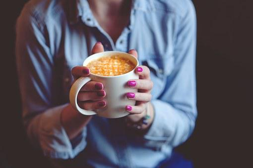 Hands Coffee Cup Mug Drink Cafe Latte Nail