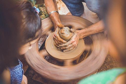 Hands, Pottery, Pot, Brown, Wheel, Mud