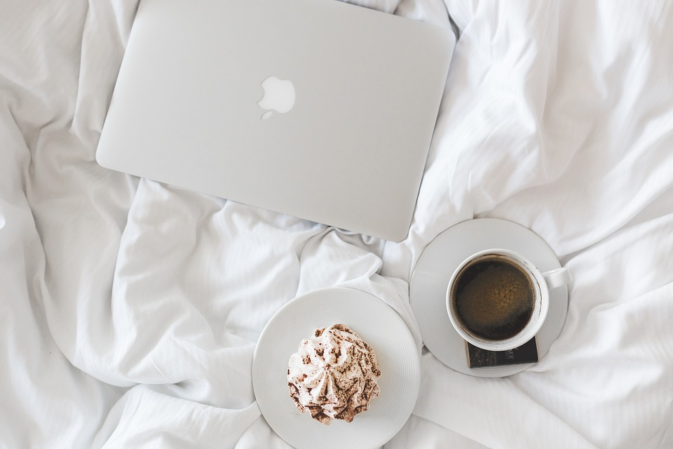 Coffee, Cup, Macbook, Laptop, Working, Breakfast, Bed
