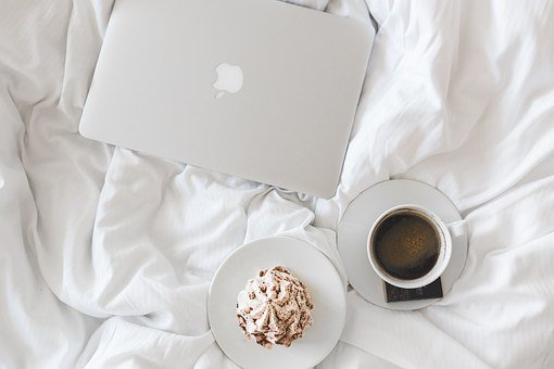 Coffee, Cup, Apple, Laptop, Working, Bed