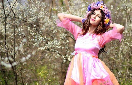 Menina, Primavera, Flores