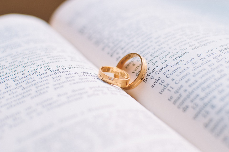 Couple Love Rings Book Wedding Bible Vows