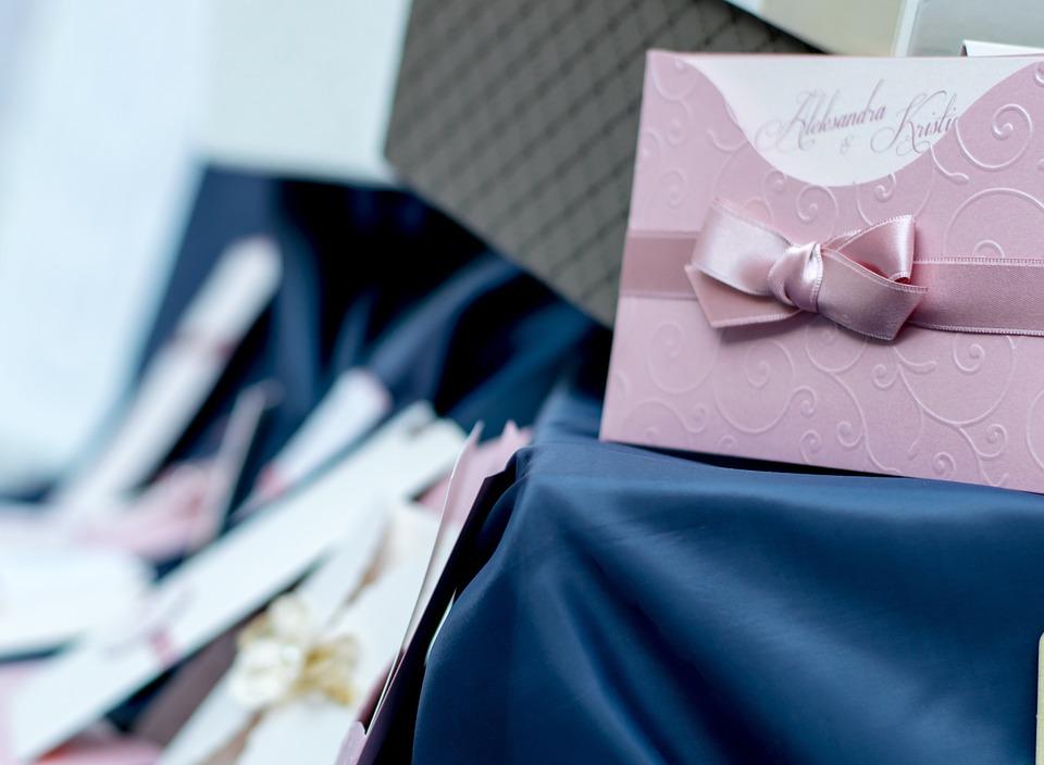 Blue, Pink, Wedding, Card, Invitation