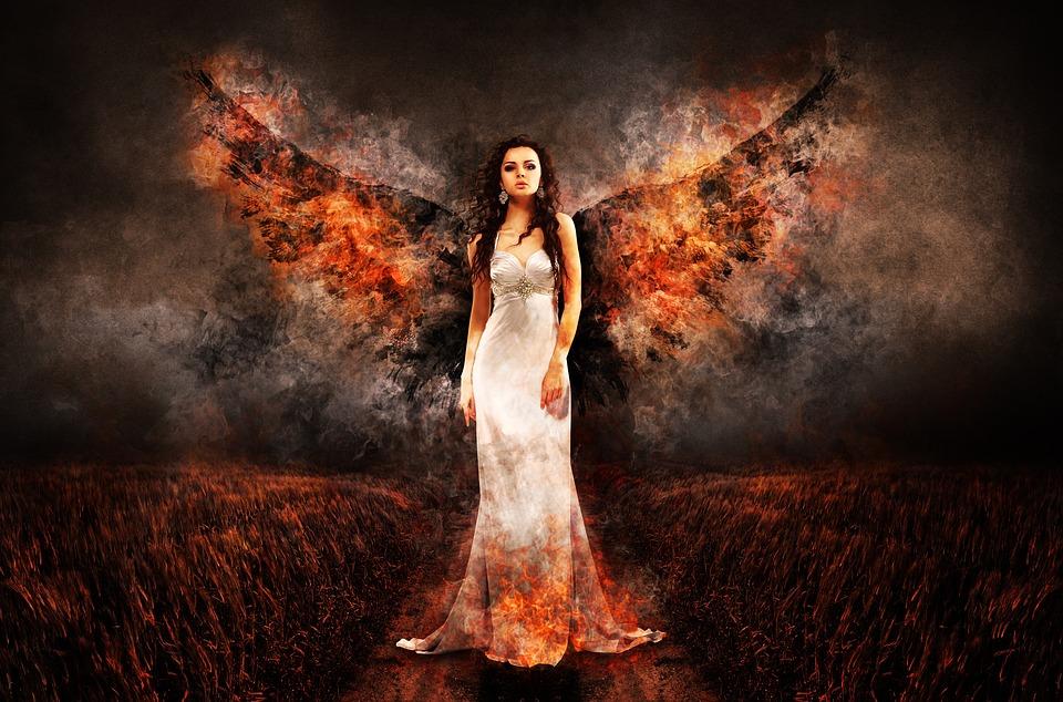 天使, 魔女, 地獄, 大天使, Luzifer, 女性, 翼, 天使の顔, 火, 暗い, 闇, シュール