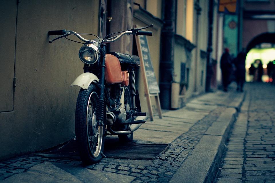 通り、歩道、ヴィンテージ、古い、バイク、オートバイ