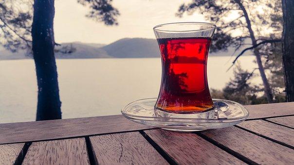茶, 紅茶のカップ, 自然, 屋外, ガラス, 赤, 静かな, リラックス