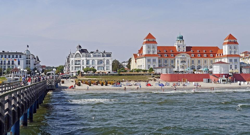 Binz, Rügen, Kurhaus, Zee Bridge, Strand, Baltische Zee