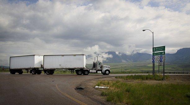 Camión Semi, Camión, Doble Remolque