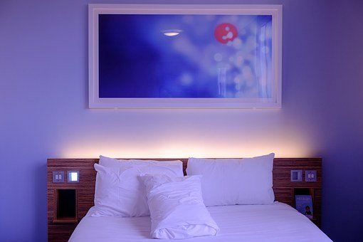 Bedroom Hotel Room White Bedding Wall Art