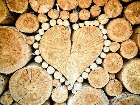 Heart, Wood, Logs, Combs Thread Cutting