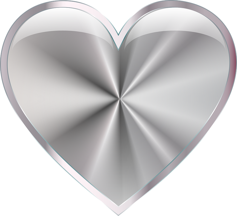 free vector graphic silver  shiny  metallic  heart free