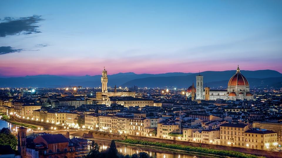 Florenz, Skyline, Sonnenuntergang, Stadtbild, Tuscany