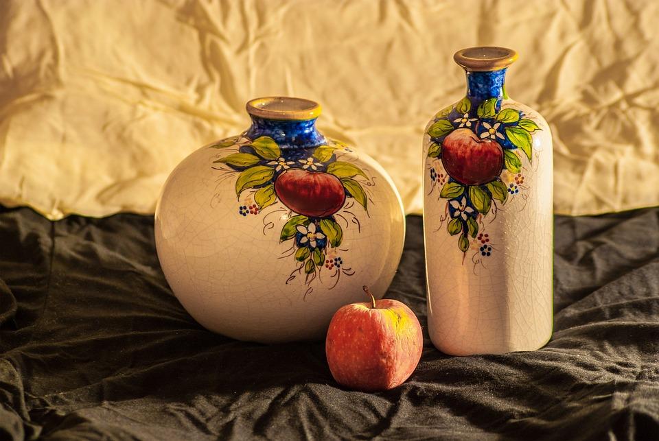 bodegn fruta manzana jarrones color rstico