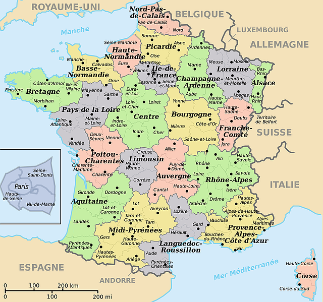 Map Of France North.Map Of France Translated Into Free Image On Pixabay