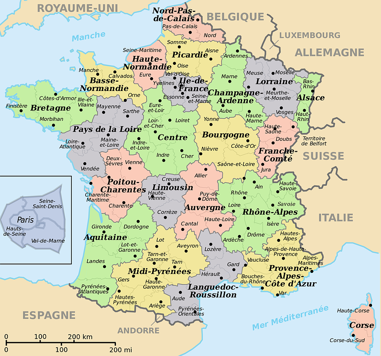 Map Of France Departments.Map Of France Translated Into Free Image On Pixabay