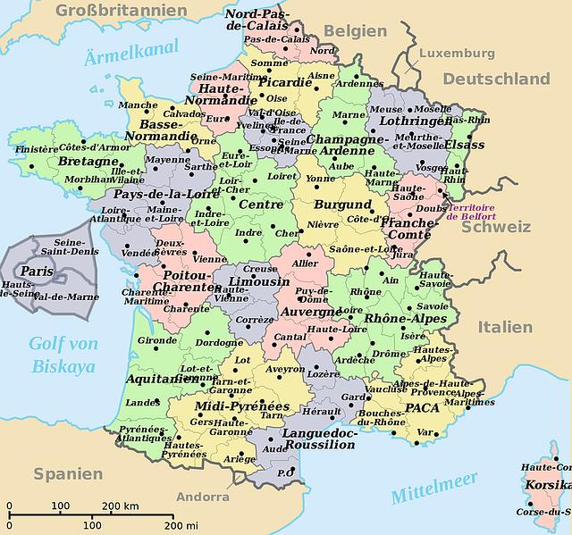 karte von frankreich ins deutsche 183 kostenloses bild auf