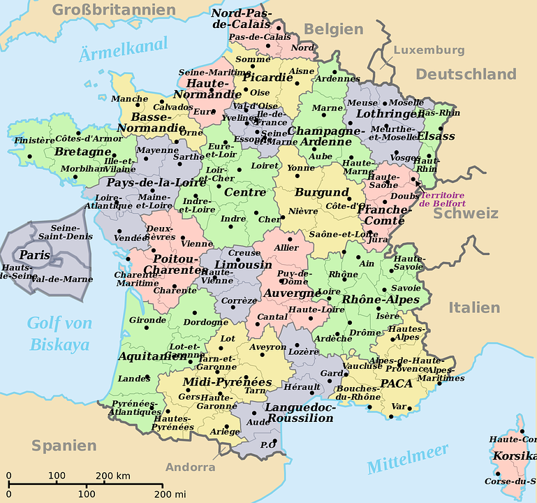 Map of france translated into free image on pixabay map of france translated into german departments gumiabroncs Choice Image