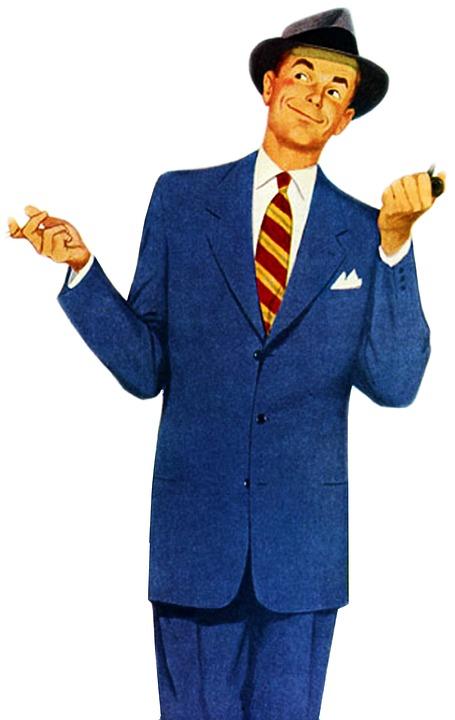 vintage retro man suit attire hat businessman