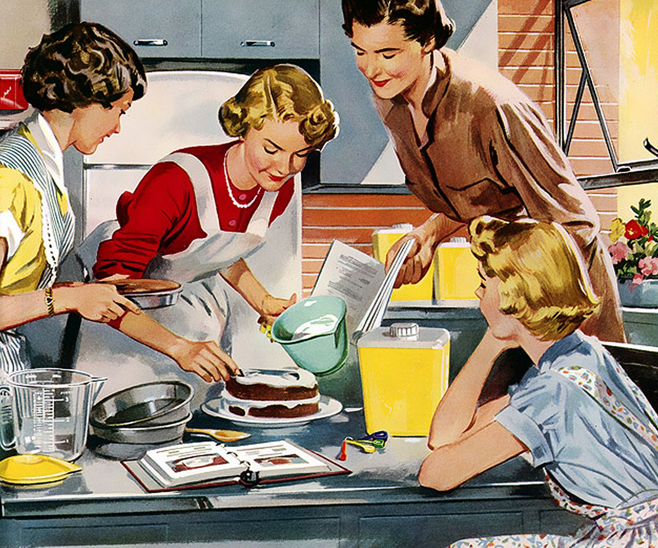 Retro, Vintage, Casa, Pastel, Postre, Decorar, Glas