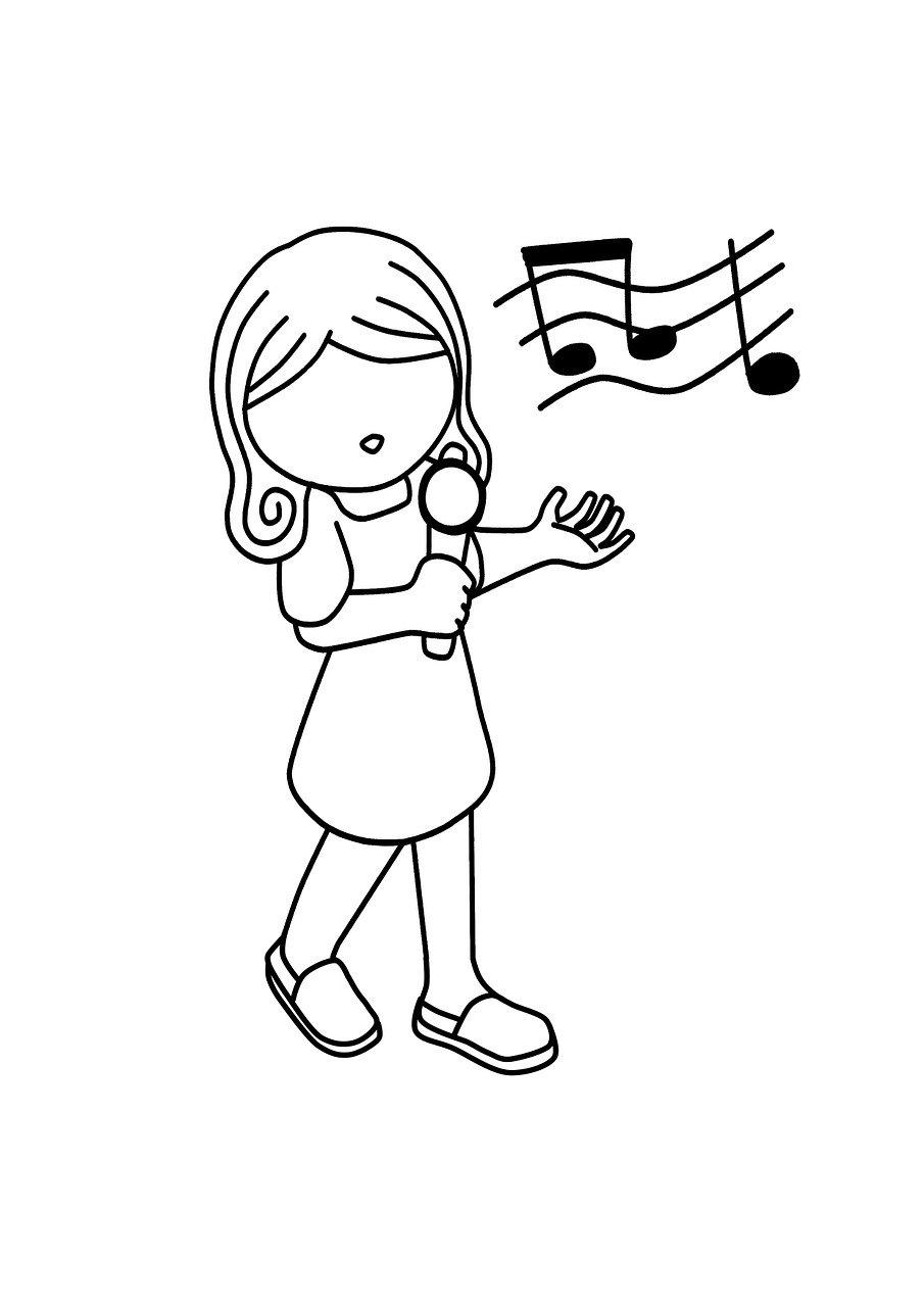 Раскраска девочка поет звук