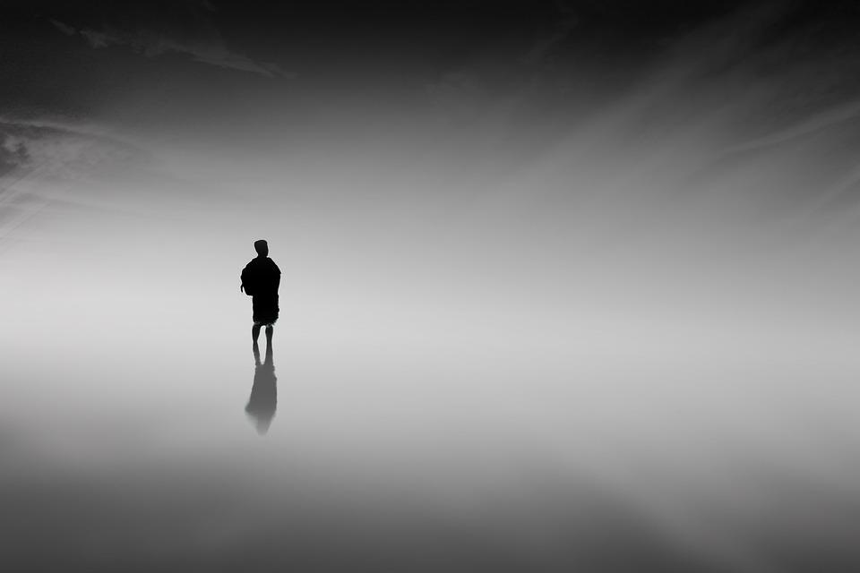 男, 霧, シルエット, 人, 水, 海, 海洋, 反射, 靄, 自然, 落ち着いて, 男のシルエット