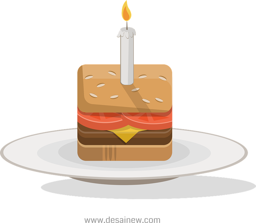 Birthday Burger Cake Free Vector Graphic On Pixabay