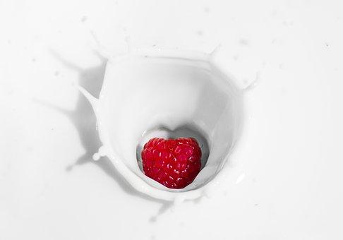 Framboos, Yoghurt, Melk, Vruchten