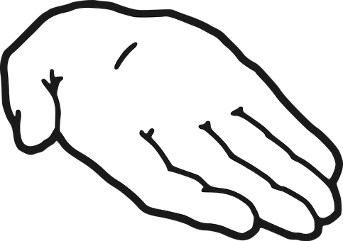 A drawing of an outstretched hand to signify need