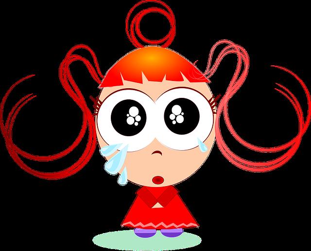 free vector graphic girls sad cartoon cute female