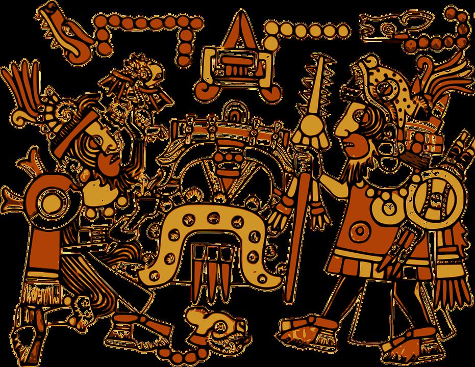 무료 벡터 그래픽: 아즈텍, 문자, 디자인, 그림, 역사, 벽화, 벽 ...