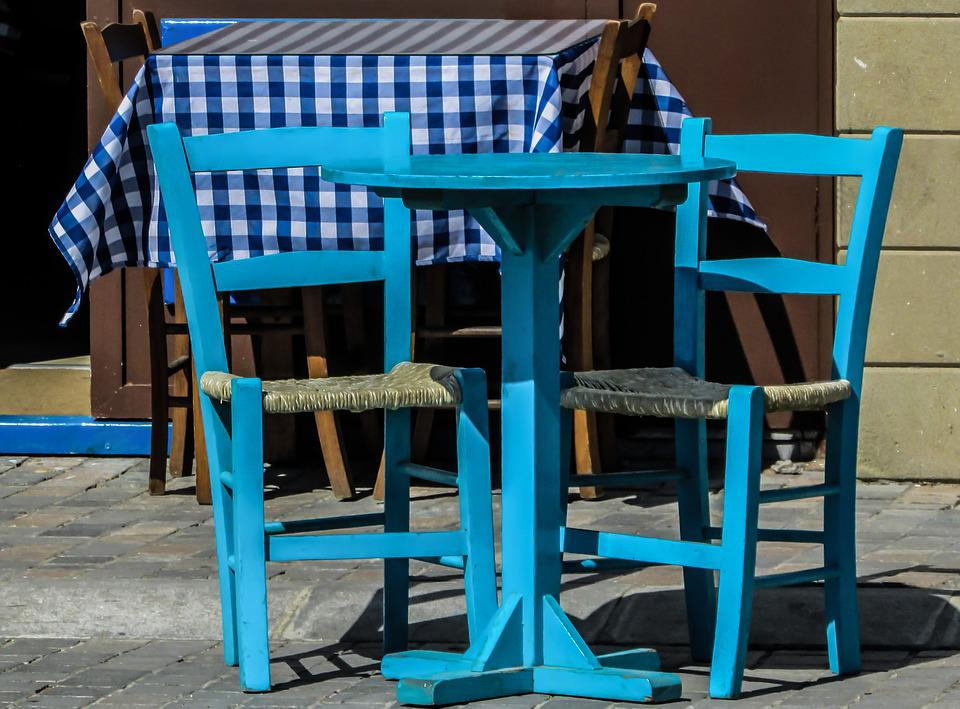 Tavern, Greek, Table, Chairs, Blue, Tourism, Cyprus