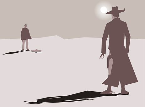 Art, Cartoon, Cowboy, Duel, Gunslinger