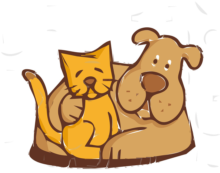friends cat dog free vector graphic on pixabay rh pixabay com dog and cat clip art images dog and cat clip art free