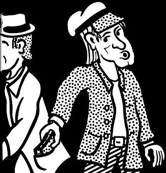 マンガのキャラクター, 男, マン, すり, ポケット, 盗む, 泥棒