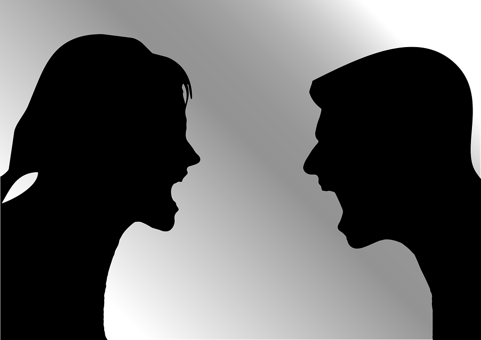Arguing, Female, Male, Man, Shouting, Silhouette, Woman