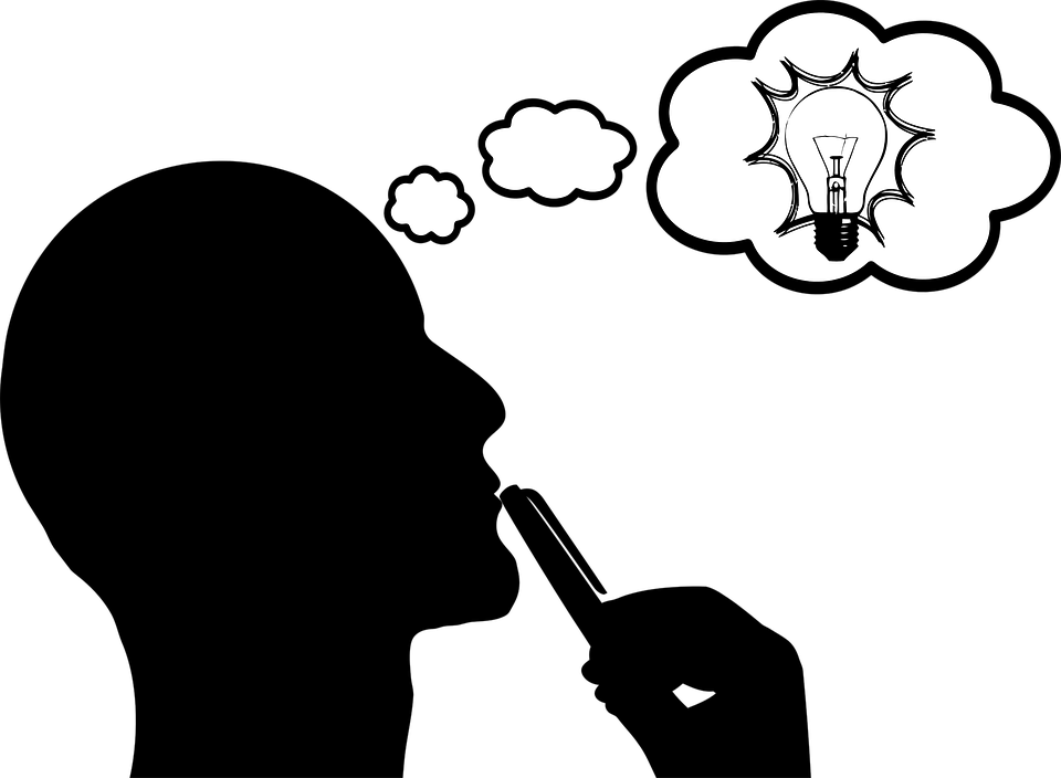 明るい, 熟考, アイデア, 電球, 男, シルエット, 思う, 思想