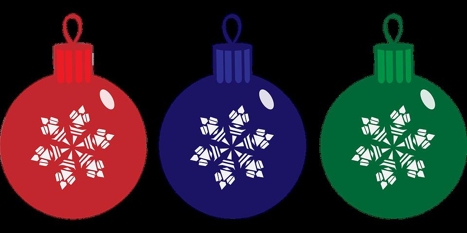 Baubles Blue Christmas Decorations Festive Green