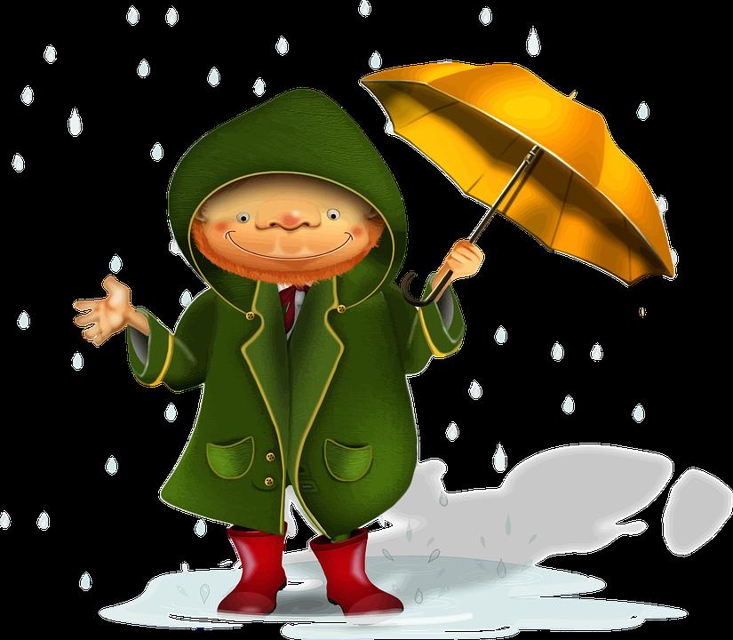 Gambar Vektor Gratis Kartun Karakter Kecil Laki Pria Hujan Cuaca