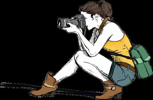 Kamery, Kobiet, Dziewczyna, Fotograf