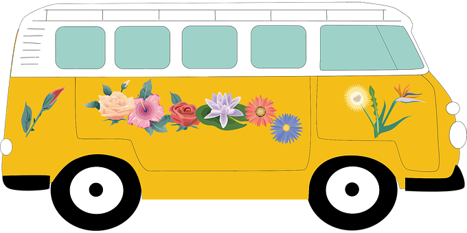 Automobile Camper Car Classic Floral Rides
