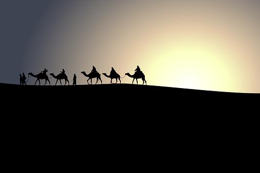 動物, ラクダ, キャラバン, 砂漠, 砂丘, 風景, 中東, 人, シルエット