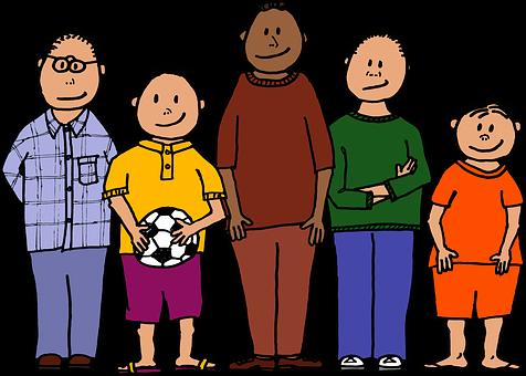 ボール, 色, 5若い男の子, 4種類のサイズ, 笑顔, サッカー ボール