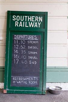 Railway, Chalkboard, Timetable, Rail