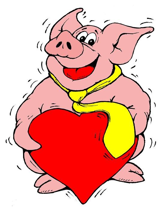 Free Illustration Pig Heart Lucky