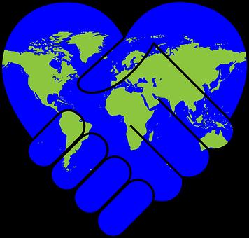 協力, 友情, 手, ハンドシェイク, 中心部, 国際, 愛, 国, 1 つ