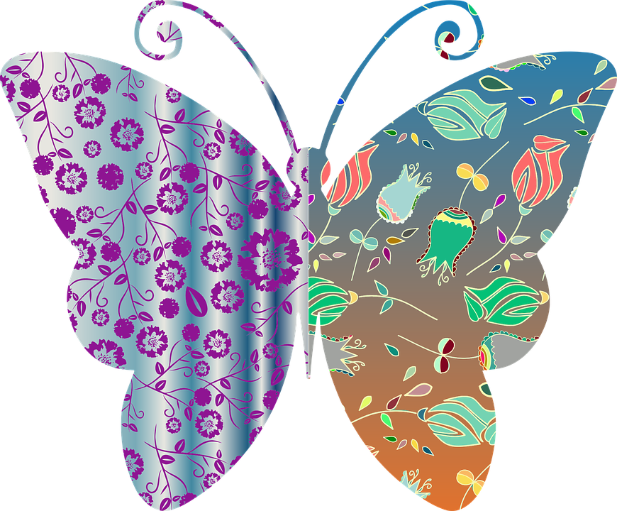 Vintage Style Floral Butterfly Pattern Abstract
