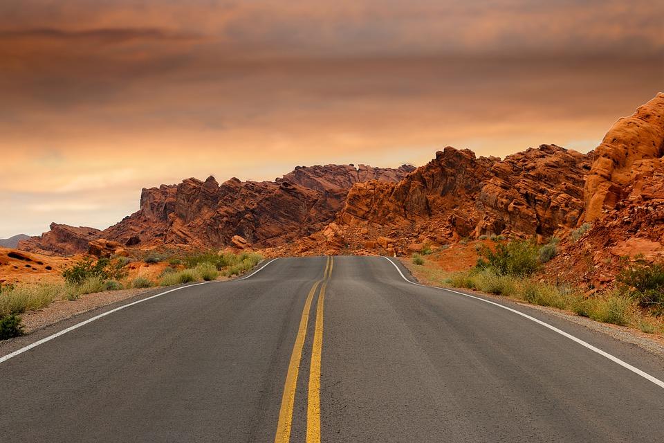 Straße, Roten Felsen, Felsformationen, Sonnenuntergang