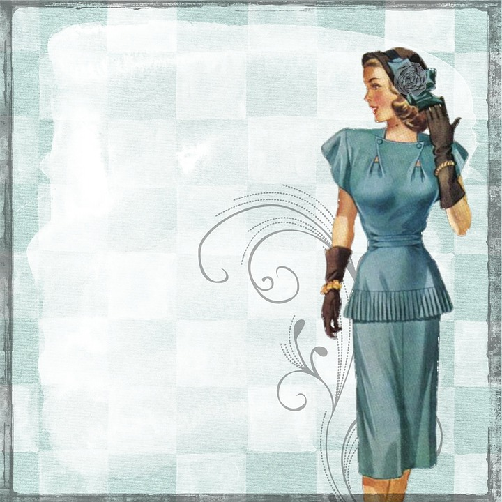 Vintage Retro Lady Paper Scrapbook Woman Nlue